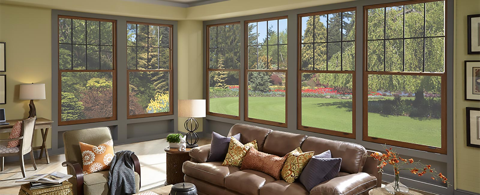 Impact Resistant Windows in a Country Styled Living Room