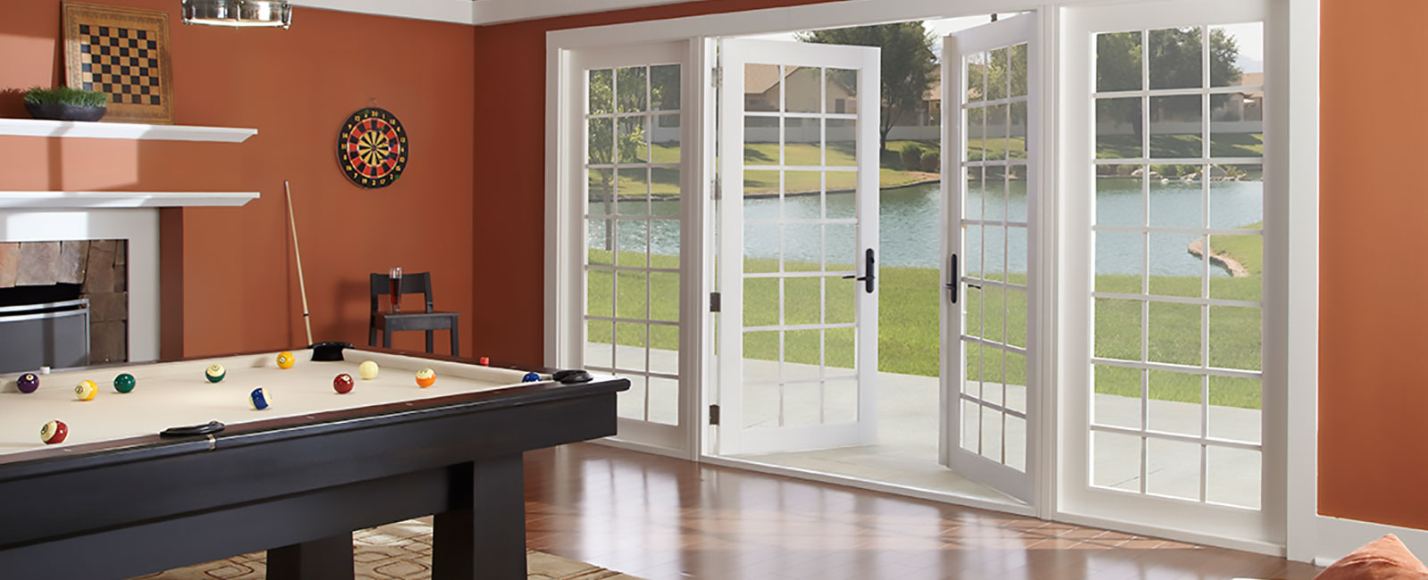 Impact Resistant French Doors in a Billards Room