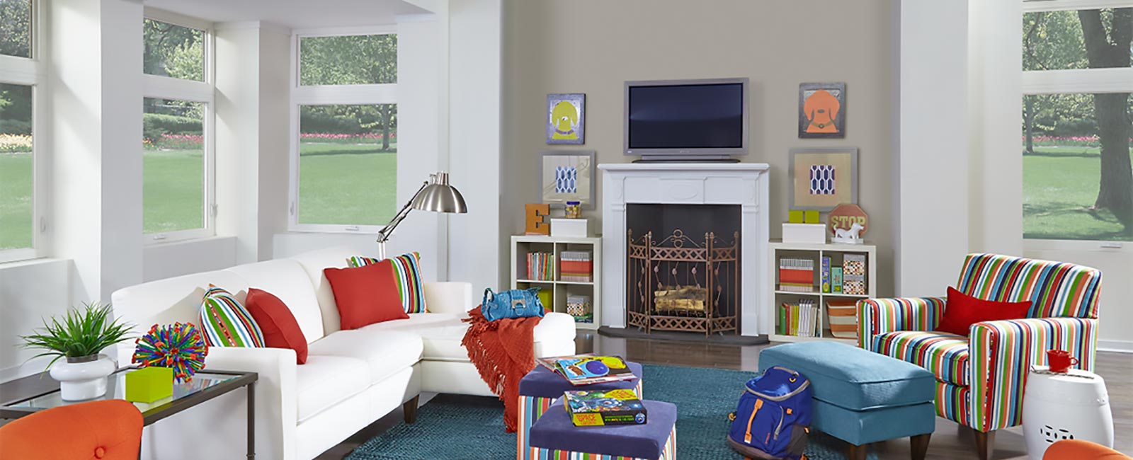 Impact Resistant Windows in Contemporary Family Room